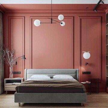 Интригующее сочетание терракотового и серого оттенков в проекте @bas.architects   Кровать IRIS стала центральным местом в спальне, сохранив единую цветовую палитру с системой хранения.   Ждём ваших 🖤, если понравился данный проект