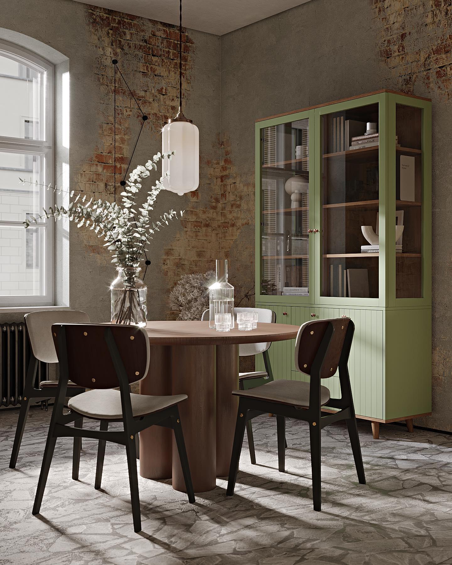 Заказ корпусной мебели в цвете месяца ( RAL 6021, светло-зеленый) по стандартной цене доступен до конца августа.    Хотите увидеть, как будет выглядеть выбранный вами предмет в этом цвете? Напишите нам (ссылка в профиле) и мы поделимся с вами визуализациями.    Буфет из коллекции Twin в этом цвете и стулья Sid добавляют мягкости брутальному лофтовому пространству: наша мебель живет не только в классических интерьерах, но и в концептуальных.    Буфет и стулья доступны для заказа по ссылке в профиле.