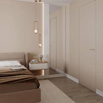 Нравятся светлые интерьеры? Тогда ставьте 🖤 этому проекту от студии дизайна @newdondesign   Для спальни были выбраны спокойные карамельные и белые оттенки, а также мебель THE IDEA.  На фото: ✔️Кровать IRIS ✔️Консоль подвесная VR1 ✔️Консоль подвесная HR2